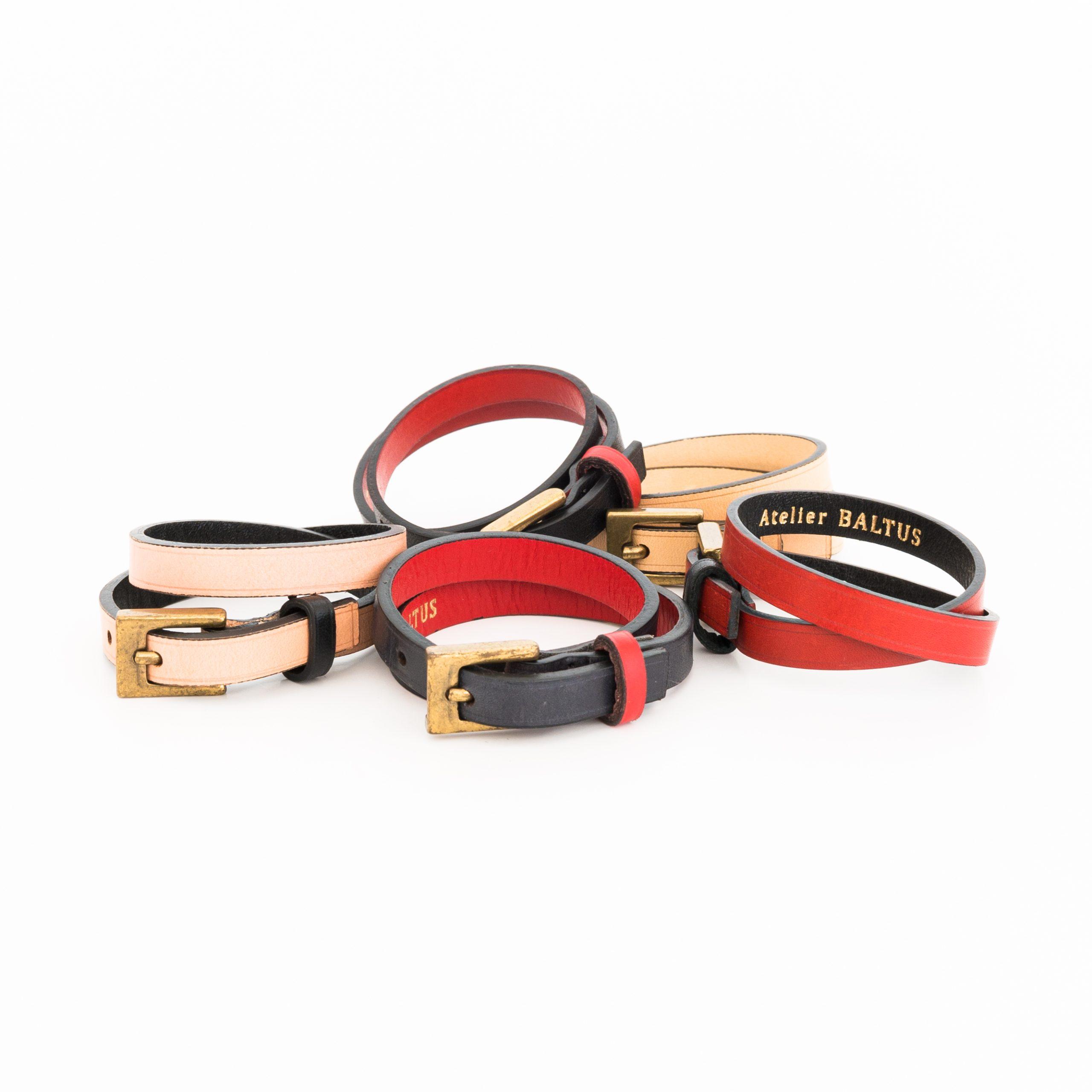 Ensemble des bracelets Atelier BALTUS en cuir à tannage végétal